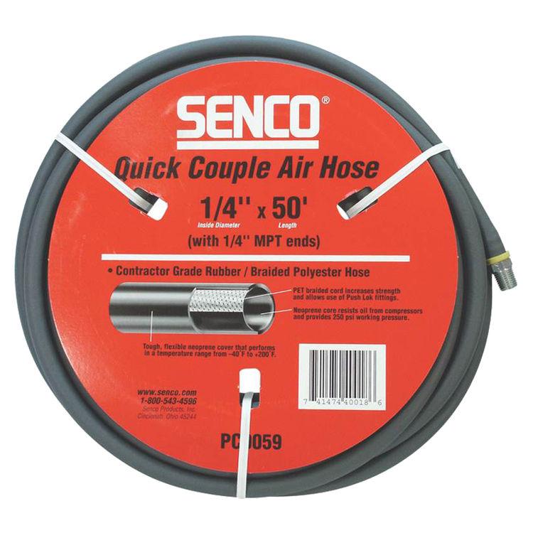 Senco PC0059 Senco PC0059 Quick Couple Air Hose, 1/4-18 x 50 ft, MPT, 250 psi, Nitrile Rubber