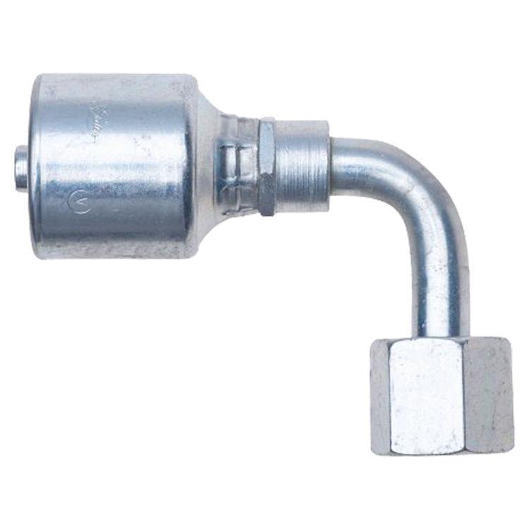 Gates G251060606 MegaCrimp G25 Hydraulic Hose Elbow, 90 deg, 3/8 in, Male Pipe Swivel 1.95 in L, Low Carbon Steel