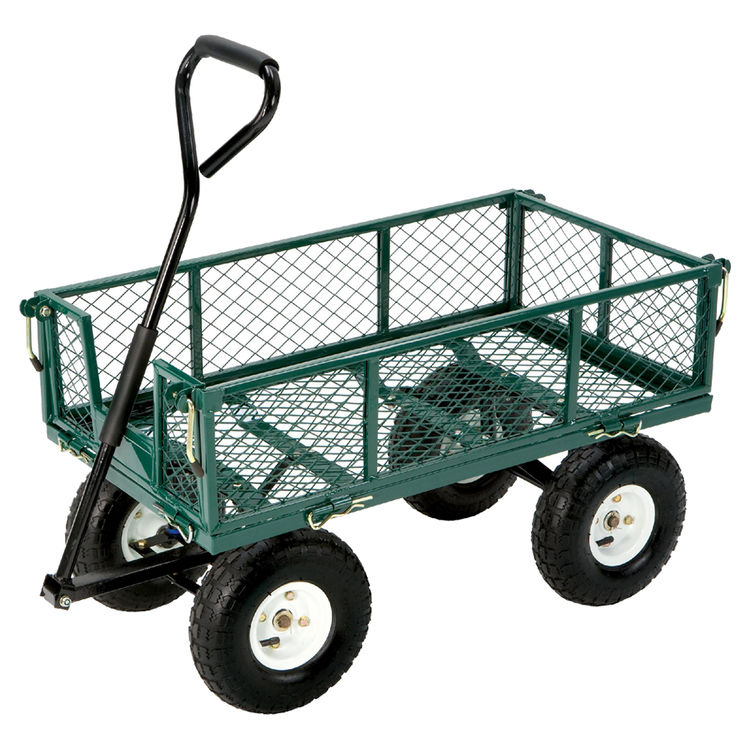 Tricam GOR400 Tricam FR110 Yard Cart With Fold Down Sides, 400 lb 34 in L, Steel Mesh Deck