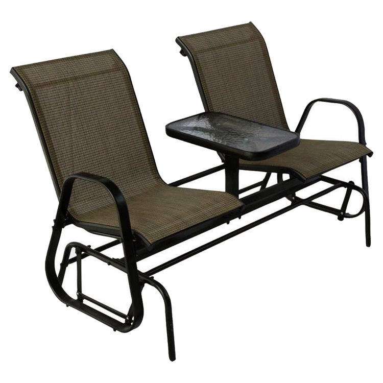Westfield S95-S1384K Westfield S95-S1384K Double Glider With Console, HardWood, Steel Frame, Natural, Powder-Coated