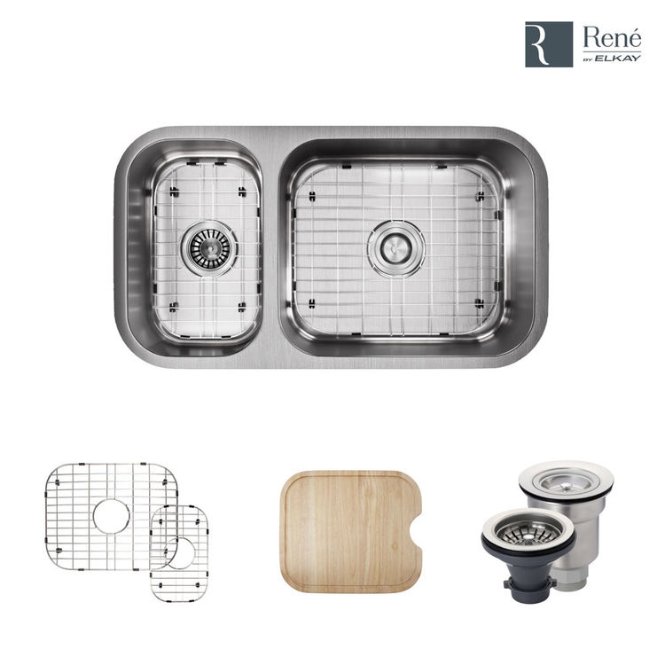 Rene By Elkay R1 1024br 16 Offset Double Bowl Undermount