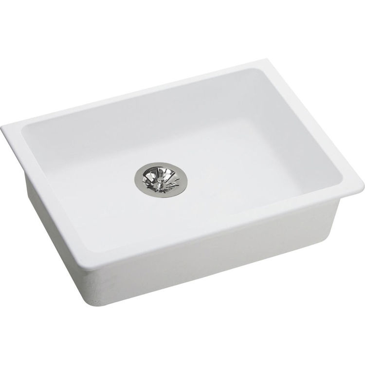 View 2 of Elkay ELGUAD2519PDWH0 Elkay  ELGUAD2519PDWH0 Quartz Classic Single Bowl Undermount ADA Sink with Perfect Drain, 25