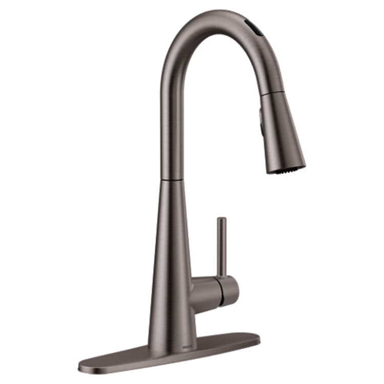 Moen 7864evbls Sleek One Handle Voice Activated Pulldown Kitchen Faucet Black Stainless