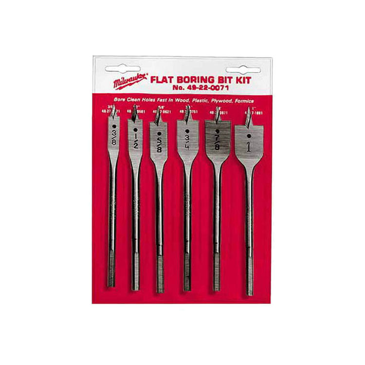 Milwaukee 49-22-0071 Milwaukee 49-22-0071 Flat Universal Boring Bit Set, 6 Pieces, 3/8 - 1 in