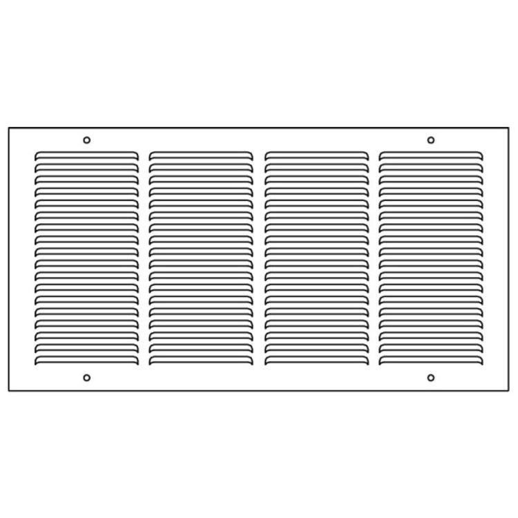 View 3 of Shoemaker 1150-24X10 24x10 Soft White Baseboard Return Air Grille (Steel) - Shoemaker 1150
