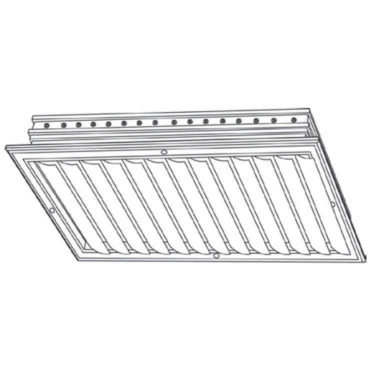 View 3 of Shoemaker CB10-20X6 20X6 Soft White One-Way Adjustable Curved Blade Diffuser (Aluminum) - Shoemaker CB10
