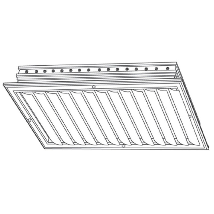 View 3 of Shoemaker CB10-24X8 24X8 Soft White One-Way Adjustable Curved Blade Diffuser (Aluminum) - Shoemaker CB10