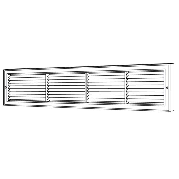 View 3 of Shoemaker 1100FF-26X10 26x10 Soft White Deluxe Baseboard Return Air Grille (Aluminum) - Shoemaker 1100FF