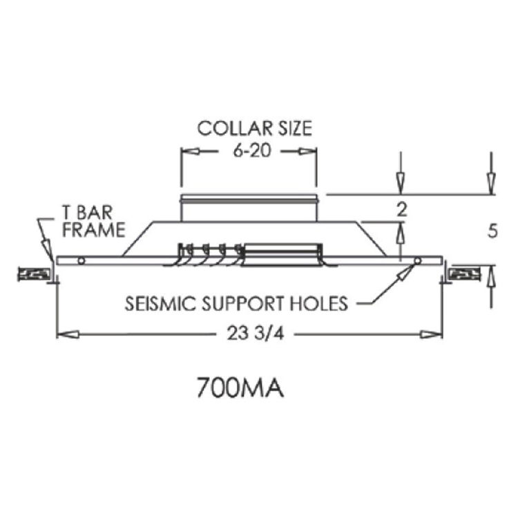 View 3 of Shoemaker 700MA0-8X8-8 8X8-8 Soft White Modular Core Diffuser in T-Bar Panel Opposed Blade Damper- Shoemaker 700MA-0