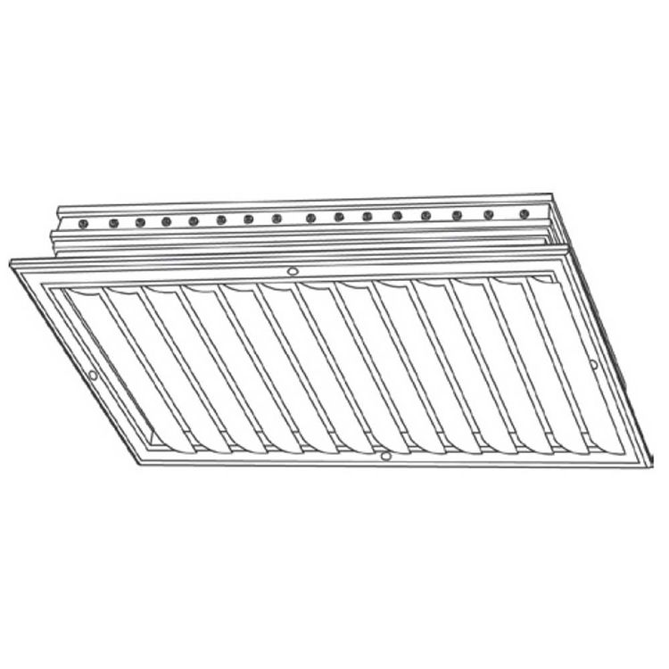 View 4 of Shoemaker CB10-36X14 36X14 Soft White One-Way Adjustable Curved Blade Diffuser (Aluminum) - Shoemaker CB10