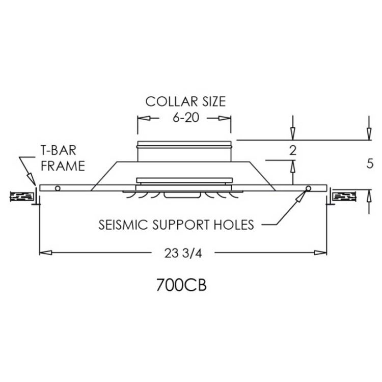 View 4 of Shoemaker 700CB40-0-9X9-6 9X9-6 Soft White Adjustable Curved Blade Diffuser in T-Bar Panel Opposed Blade Damper - Shoemaker 700CB40-0 Series