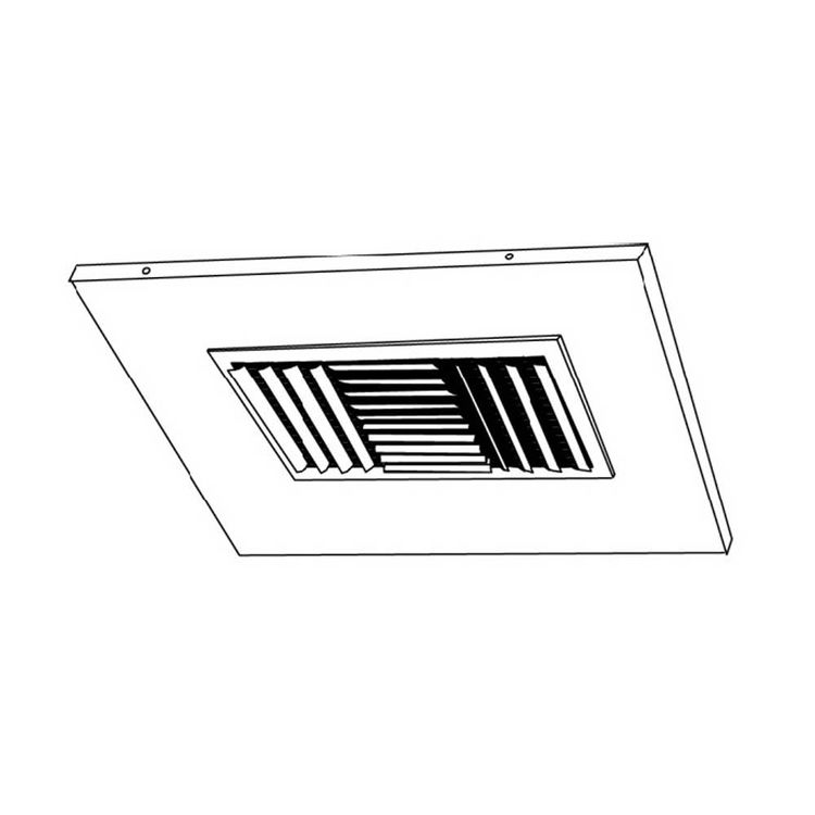 View 5 of Shoemaker 700CB40-0-14X14-7 14X14-7 Soft White Adjustable Curved Blade Diffuser in T-Bar Panel Opposed Blade Damper- Shoemaker 700CB40-0 Series
