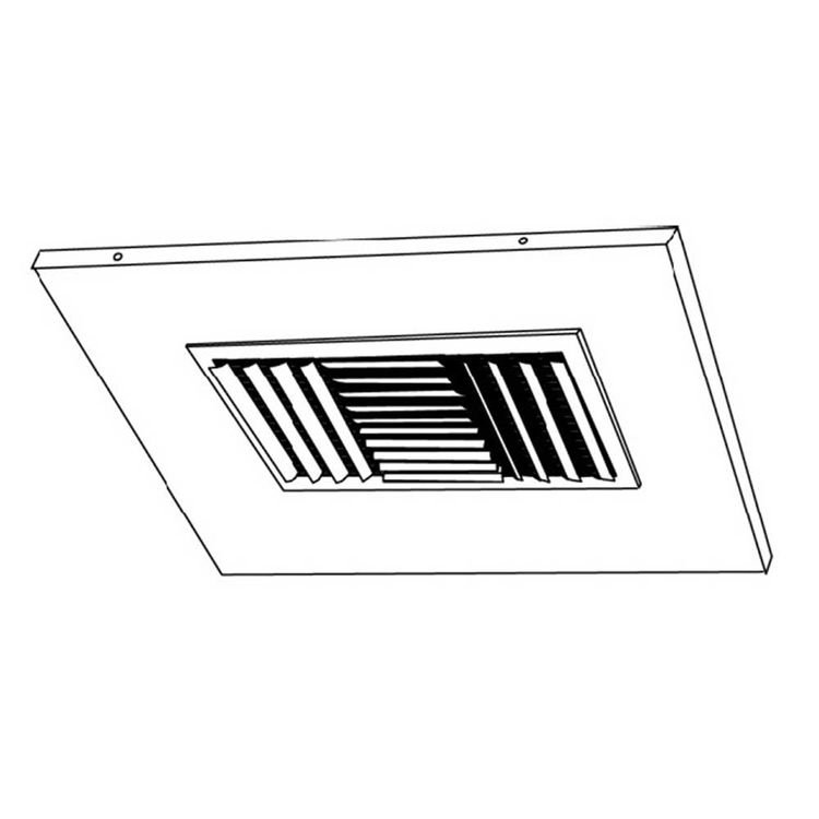 View 4 of Shoemaker 700CB40-0-14X14-8 14X14-8 Soft White Adjustable Curved Blade Diffuser in T-Bar Panel Opposed Blade Damper- Shoemaker 700CB40-0 Series