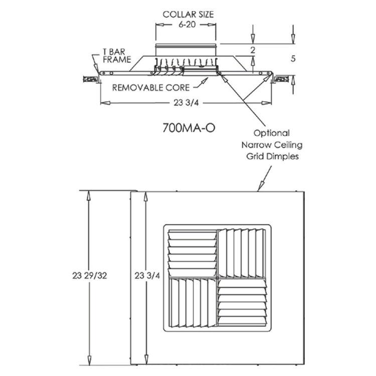 View 4 of Shoemaker 700MA-15X15-8 15X15-8 Soft White Modular Core Diffuser in T-Bar Panel - Shoemaker 700MA