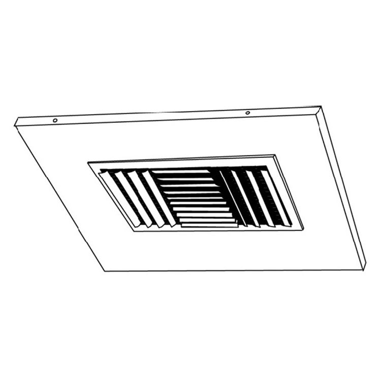 View 4 of Shoemaker 700CB40-0-20X20 20X20 Soft White Adjustable Curved Blade Diffuser in T-Bar Panel Opposed Blade Damper - Shoemaker 700CB40-0 Series