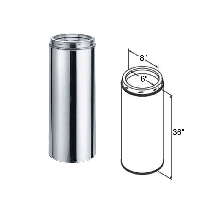 View 3 of M&G DuraVent 9406GACF DuraVent 6DT-36CF 6-Inch x 36-Inch DuraTech Galvalume Chimney Pipe