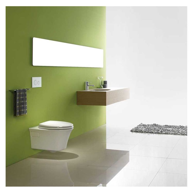 View 5 of Toto CT486FG#01 Toto Maris Wall-Hung Elongated Toilet Bowl with Skirted Design and CeFiONtect, Cotton White - CT486FG#01