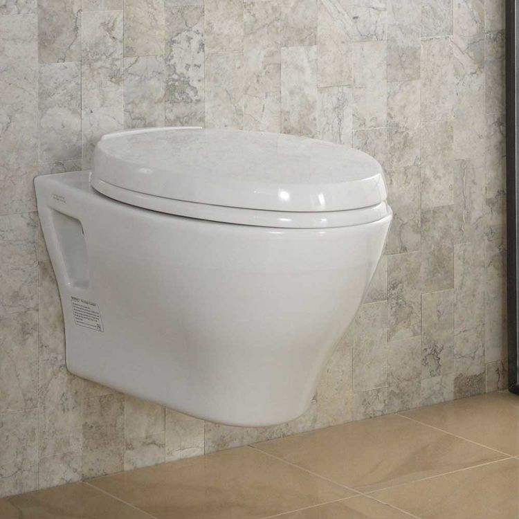 View 6 of Toto CT418F#01 Toto Aquia Wall-Hung Elongated Toilet Bowl with Skirted Design, Cotton White - CT418F#01