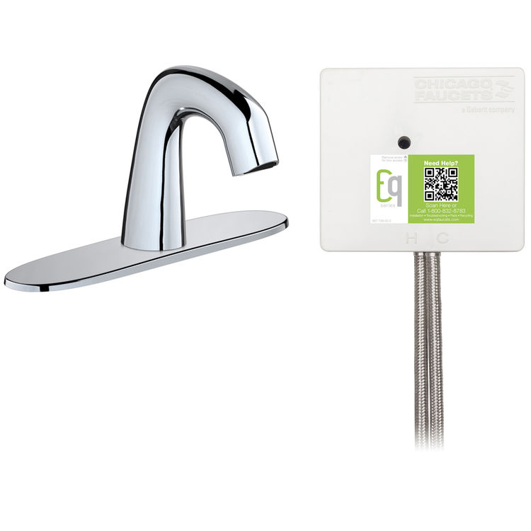 View 3 of Chicago Faucet EQ-A13A-13ABCP Chicago Faucets EQ-A13A-13ABCP EQ Chrome EQ Curved Series Lavatory Sink Faucet with Hands-free Infrared Detection