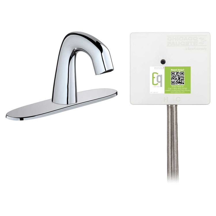 View 3 of Chicago Faucet EQ-D13A-12ABCP Chicago Faucets EQ-D13A-12ABCP EQ Chrome EQ Curved Series Lavatory Sink Faucet with Hands-free Infrared Detection