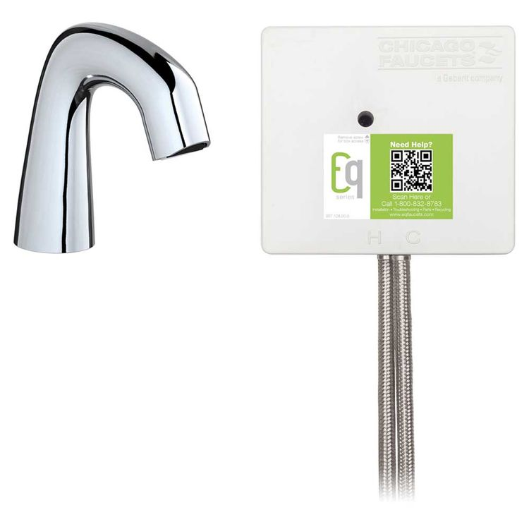 View 3 of Chicago Faucet EQ-A11A-53ABCP Chicago Faucets EQ-A11A-53ABCP EQ Chrome EQ Curved Series Lavatory Sink Faucet with Hands-free Infrared Detection