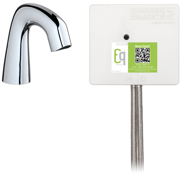 View 3 of Chicago Faucet EQ-A11A-13ABCP Chicago Faucets EQ-A11A-13ABCP EQ Chrome EQ Curved Series Lavatory Sink Faucet with Hands-free Infrared Detection