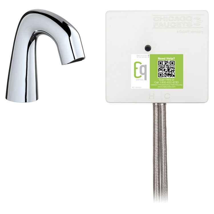 View 3 of Chicago Faucet EQ-D11B-23ABCP Chicago Faucets EQ-D11B-23ABCP EQ Chrome EQ Curved Series Lavatory Sink Faucet with Hands-free Infrared Detection