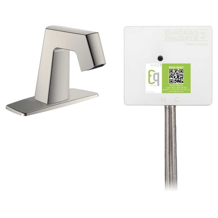 View 3 of Chicago Faucet EQ-B12A-31ABBN Chicago Faucets EQ-B12A-31ABBN EQ Brushed Nickel EQ Angular Series Lavatory Sink Faucet with Hands-free Infrared Detection