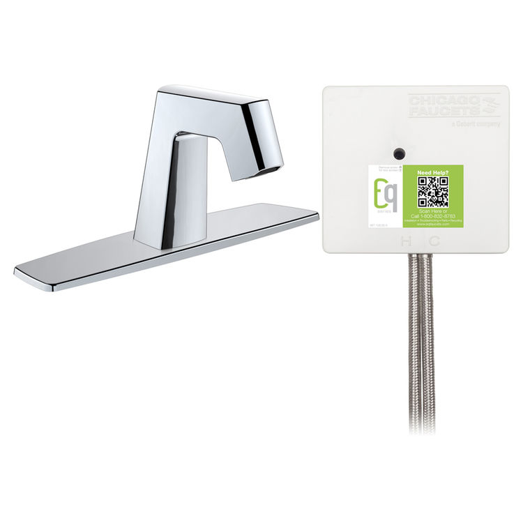View 3 of Chicago Faucet EQ-B13B-22ABCP Chicago Faucets EQ-B13B-22ABCP EQ Chrome EQ Angular Series Lavatory Sink Faucet with Hands-free Infrared Detection