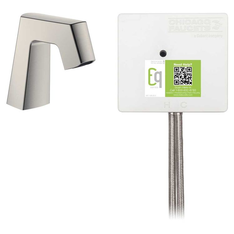 View 3 of Chicago Faucet EQ-B11A-43ABBN Chicago Faucets EQ-B11A-43ABBN EQ Brushed Nickel EQ Angular Series Lavatory Sink Faucet with Hands-free Infrared Detection