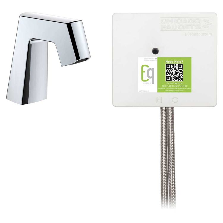 View 3 of Chicago Faucet EQ-B11A-41ABCP Chicago Faucets EQ-B11A-41ABCP EQ Chrome EQ Angular Series Lavatory Sink Faucet with Hands-free Infrared Detection