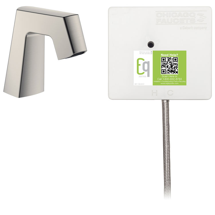 View 3 of Chicago Faucet EQ-B11B-21ABBN Chicago Faucets EQ-B11B-21ABBN EQ Brushed Nickel EQ Angular Series Lavatory Sink Faucet with Hands-free Infrared Detection