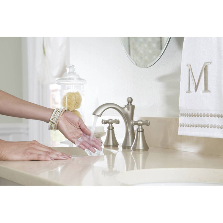 View 3 of Moen 4505BN Moen 4505BN Wynford Brushed Nickel Two Handle Lavatory Faucet