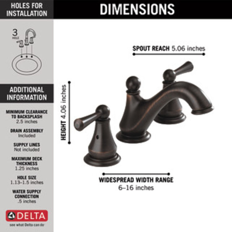 View 6 of Delta 35999LF-RB Delta 35999LF-RB Haywood Two-Handle Widespread Lavatory Faucet, Venetian Bronze