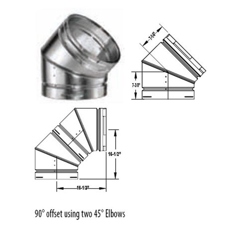 M Amp G Duravent 16 Quot Round Gas Vent 45 Degree Adjustable Elbow