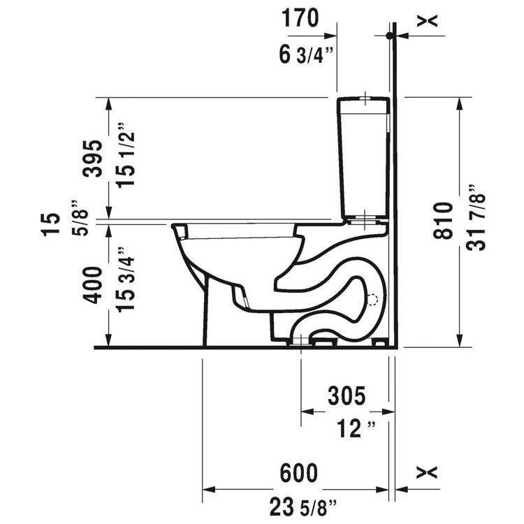View 4 of Duravit 21260100001 Duravit 21260100001 Darling New Single Flush Two-Piece Floor Mounted Elongated Toilet - White