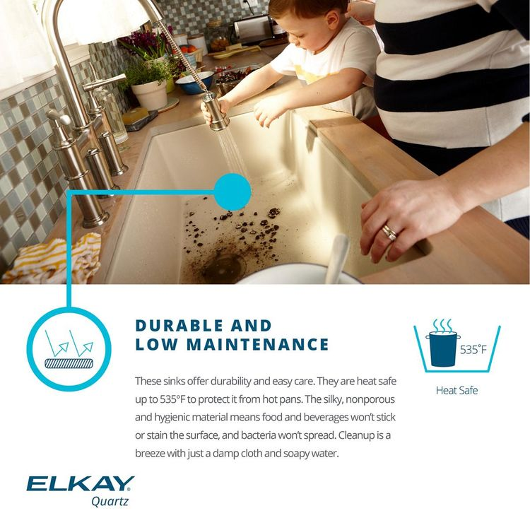 View 6 of Elkay ELGUAD2519PDWH0 Elkay  ELGUAD2519PDWH0 Quartz Classic Single Bowl Undermount ADA Sink with Perfect Drain, 25
