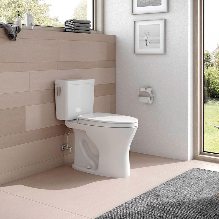 View 5 of Toto CST746CSMFG#01 TOTO CST746CSMFG#01 Drake Two-Piece Toilet 1.6 GPF & 0.8 GPF Elongated Bowl Universal Height -  Cotton White