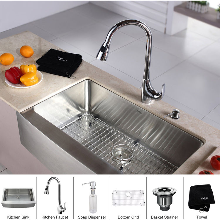 kitchen sink and faucet combinations kraus khf200 33 kpf1621 ksd30ch kitchen sink and faucet combo 24896