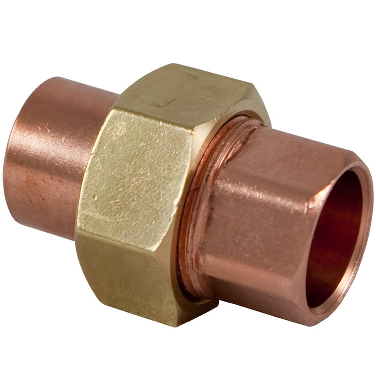 1 2 sweat copper union plumbersstock for Copper water pipe connectors