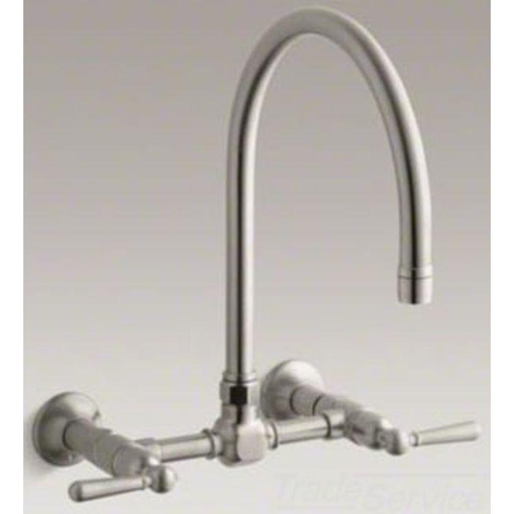 Kohler K 7338 4 Bs Hirise Deck Bridge Kitchen Faucet Brushed Stainless Plumbersstock